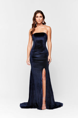 A&N Tiana - Navy Velvet Strapless Gown with Low Back and Side Slit