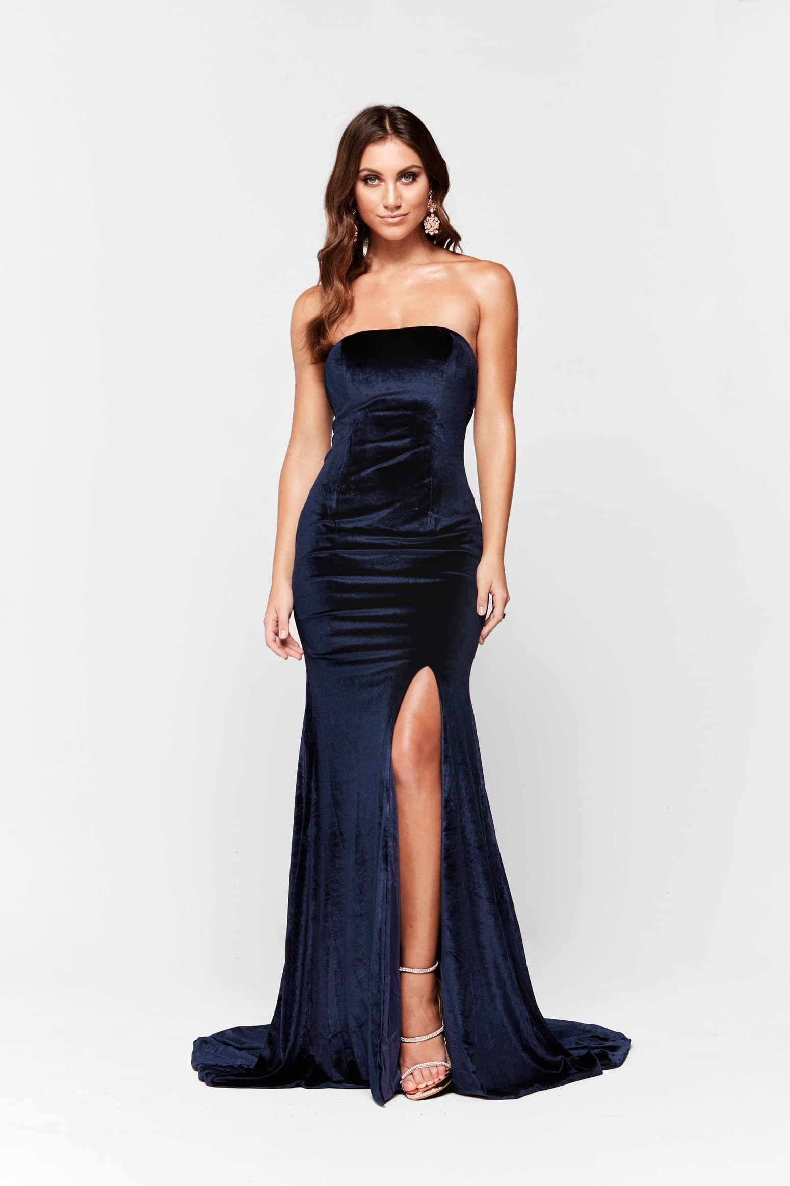 A&N Luxe Tiana Strapless Velvet Gown - Navy