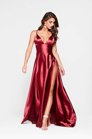 A&N Tiffany - Deep Red Satin Gown with V Neck and Two Slits