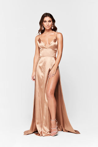 A&N Tiffany- Gold Satin V Neck Gown with Two Slits