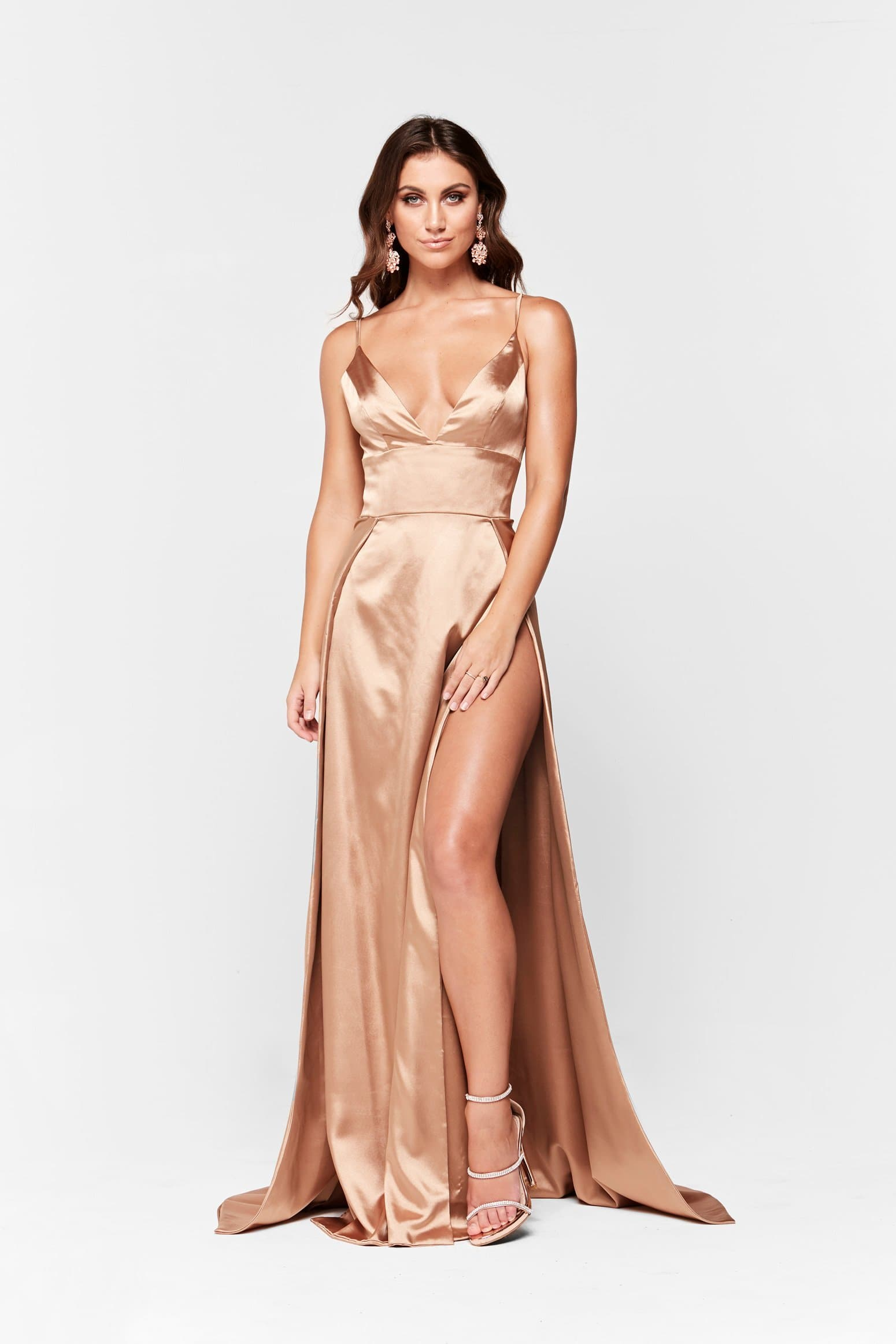 A&N Luxe Tiffany Satin Gown - Gold