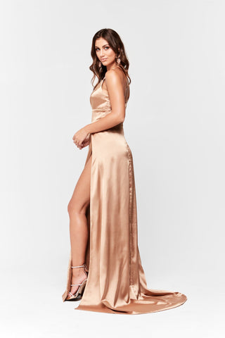3d3ca9f29e ... V Neck Gown with Two Slits · A N Luxe Tiffany Satin Gown - Gold