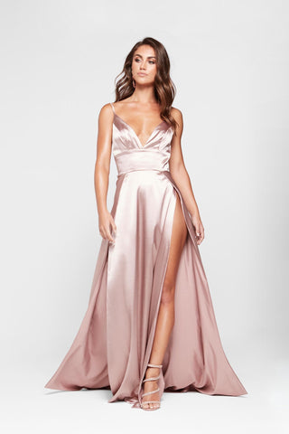 A&N Tiffany Gown - Mauve Satin V Neck Dress Two Splits Full Length