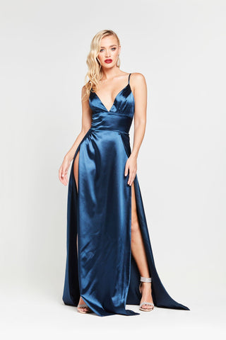 0167372c67 ... V Neck and Side Slit · A N Luxe Tiffany Satin Gown - Navy