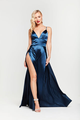 A&N Tiffany - Navy Satin Gown with V Neck and Side Slit