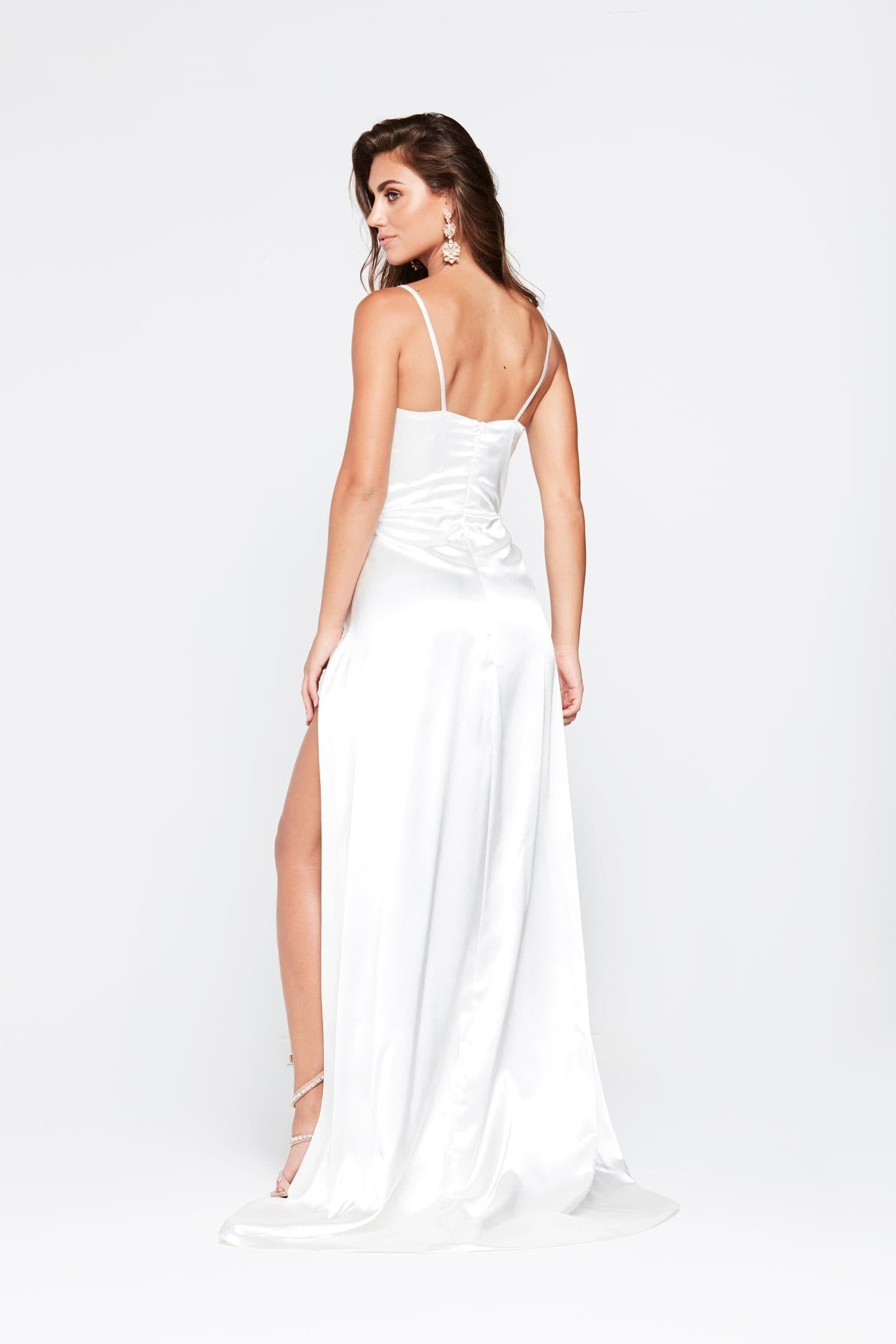 A&N Tiffany - White Satin Gown with V Neck and Two Slits