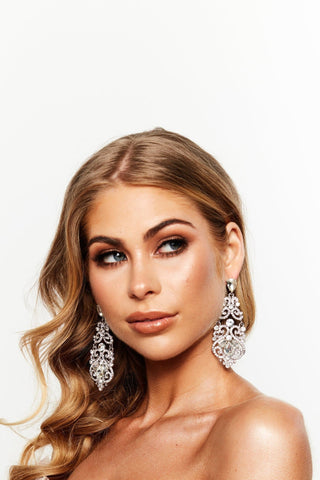 Glazori Valentina Chandelier Statement Earrings Silver