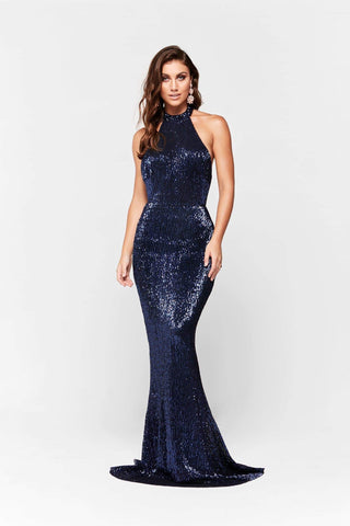 A&N Valentina - Navy Shimmering Gown with Halter Neck and Low Back