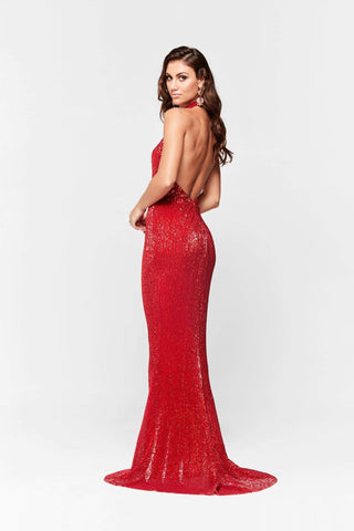 A&N Valentina - Red Shimmering Gown with Halter Neck and Low Back
