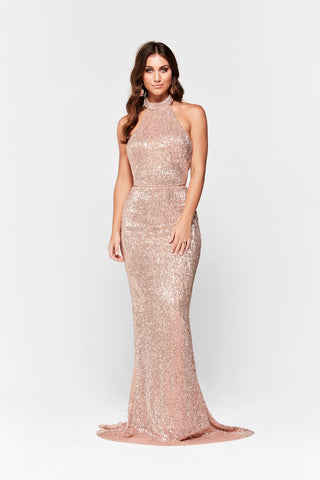 A&N Valentina - Rose Gold Shimmering Gown with Halter Neck & Low Back