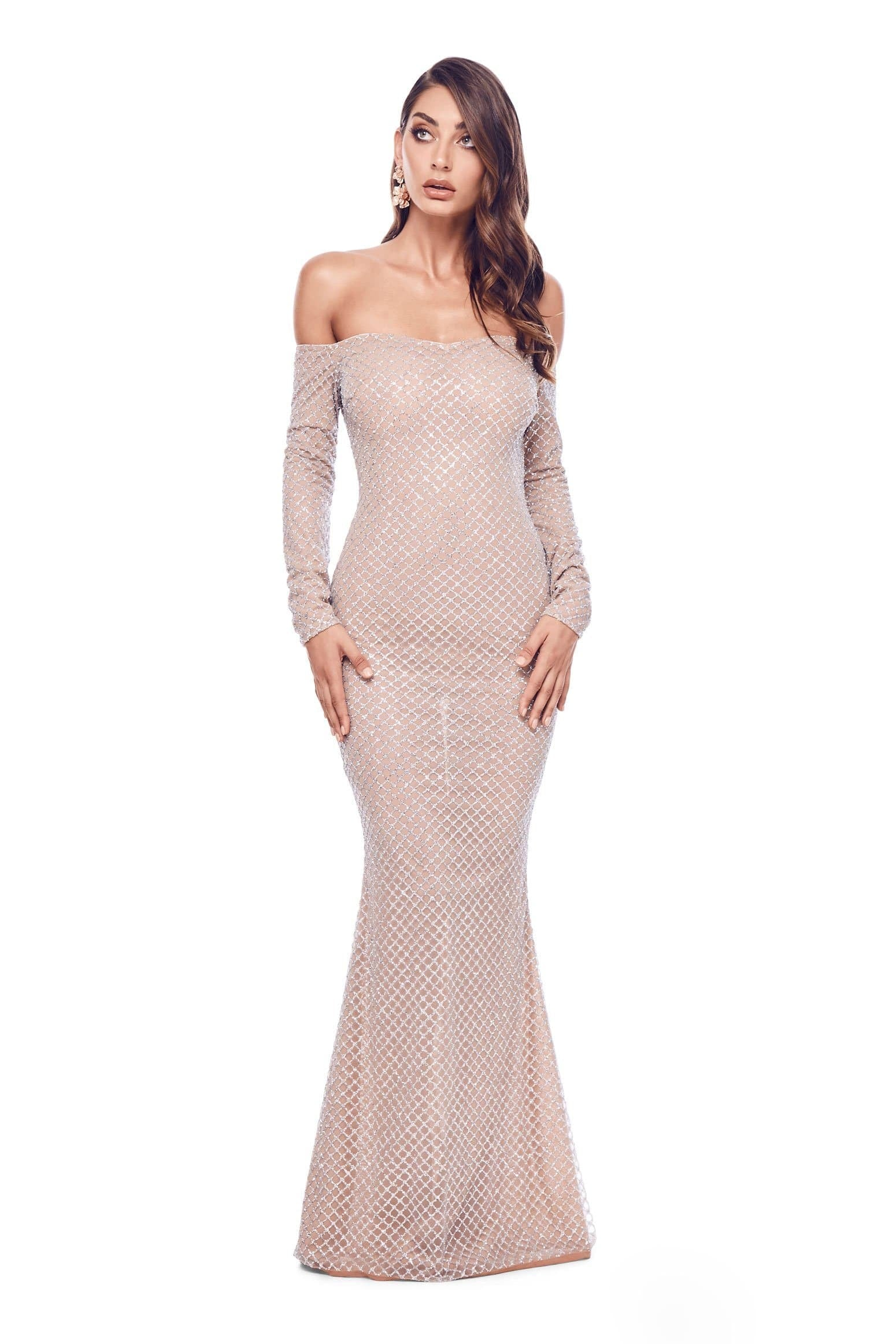 fa86bb487c19 Vera - Silver Glitter Gown with Off-Shoulder Long Sleeves – A N Luxe ...