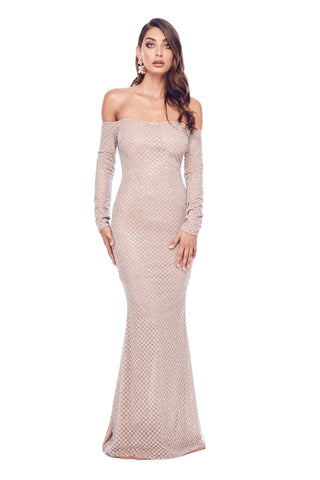Vera - Silver Glitter Gown with Off-Shoulder Long Sleeves