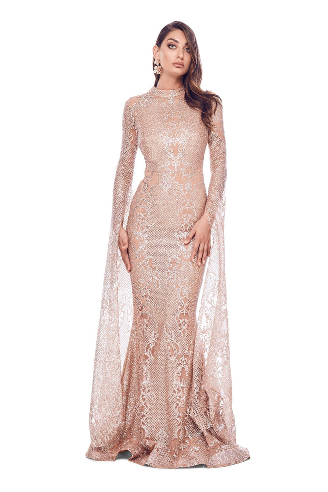 Victoria Sparkling Glitter Gown - Rose Gold