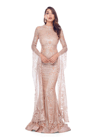 Victoria - Rose Gold Glitter Gown | Long Cape Sleeves & Mermaid Train