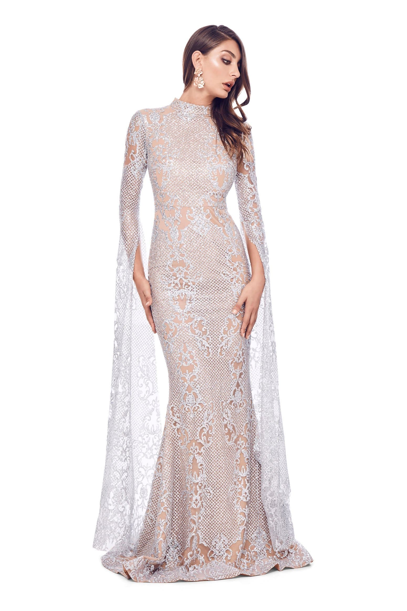 Victoria Sparkling Gown - Silver Glitter Cape Sleeve Mermaid Dress ...