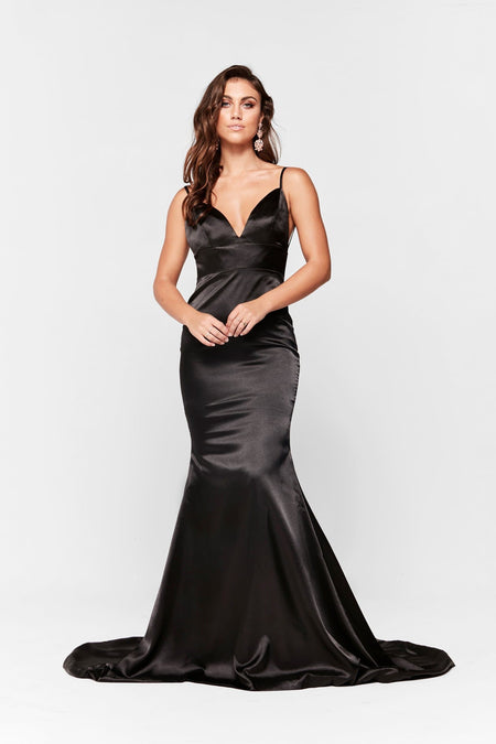 Lena Satin Gown - Navy