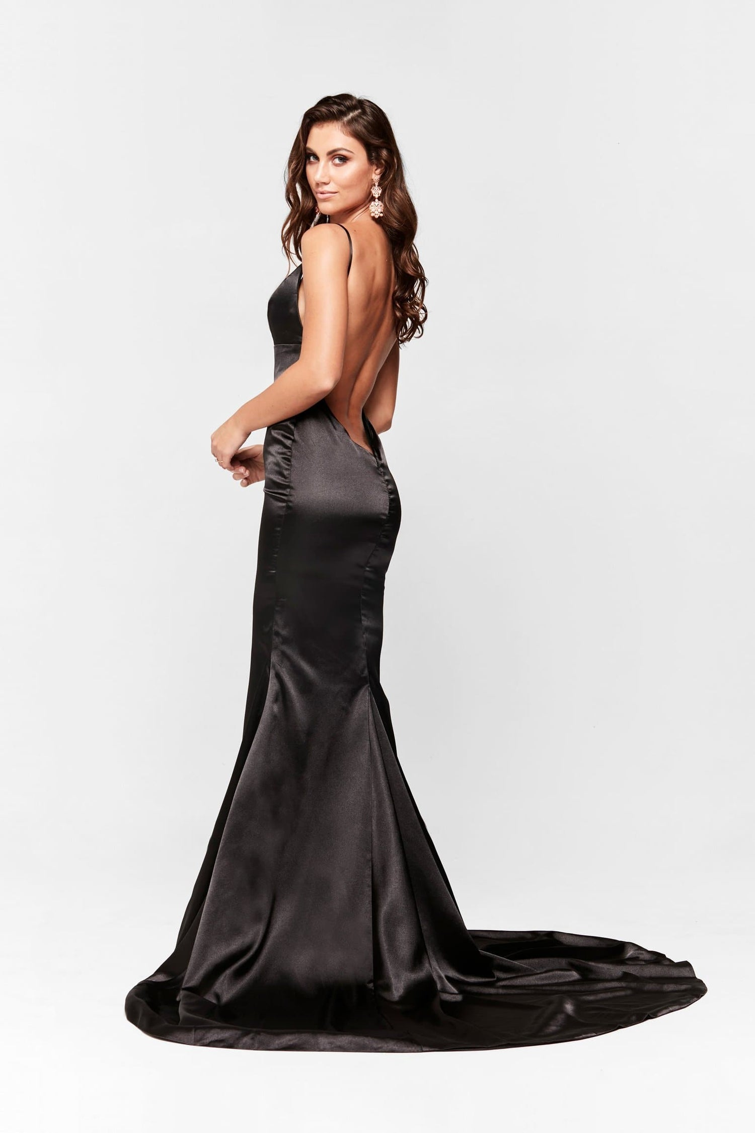 A&N Vivian - Black Satin Gown with V Neck and Mermaid Train