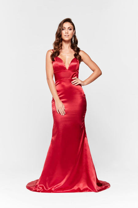Lena Satin Gown - Wine Red