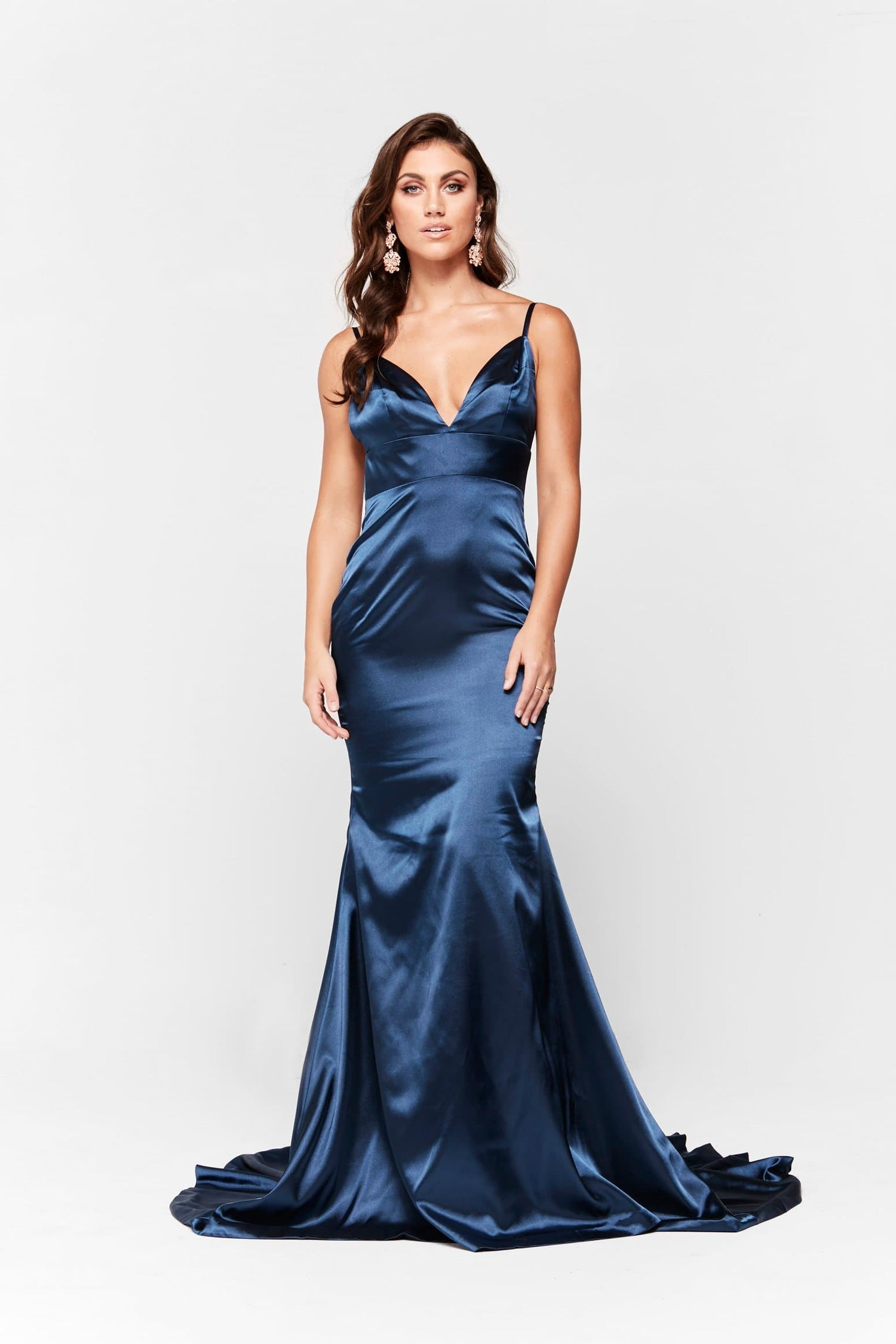 A&N Vivian - Navy Satin Gown with Plunge V Neck