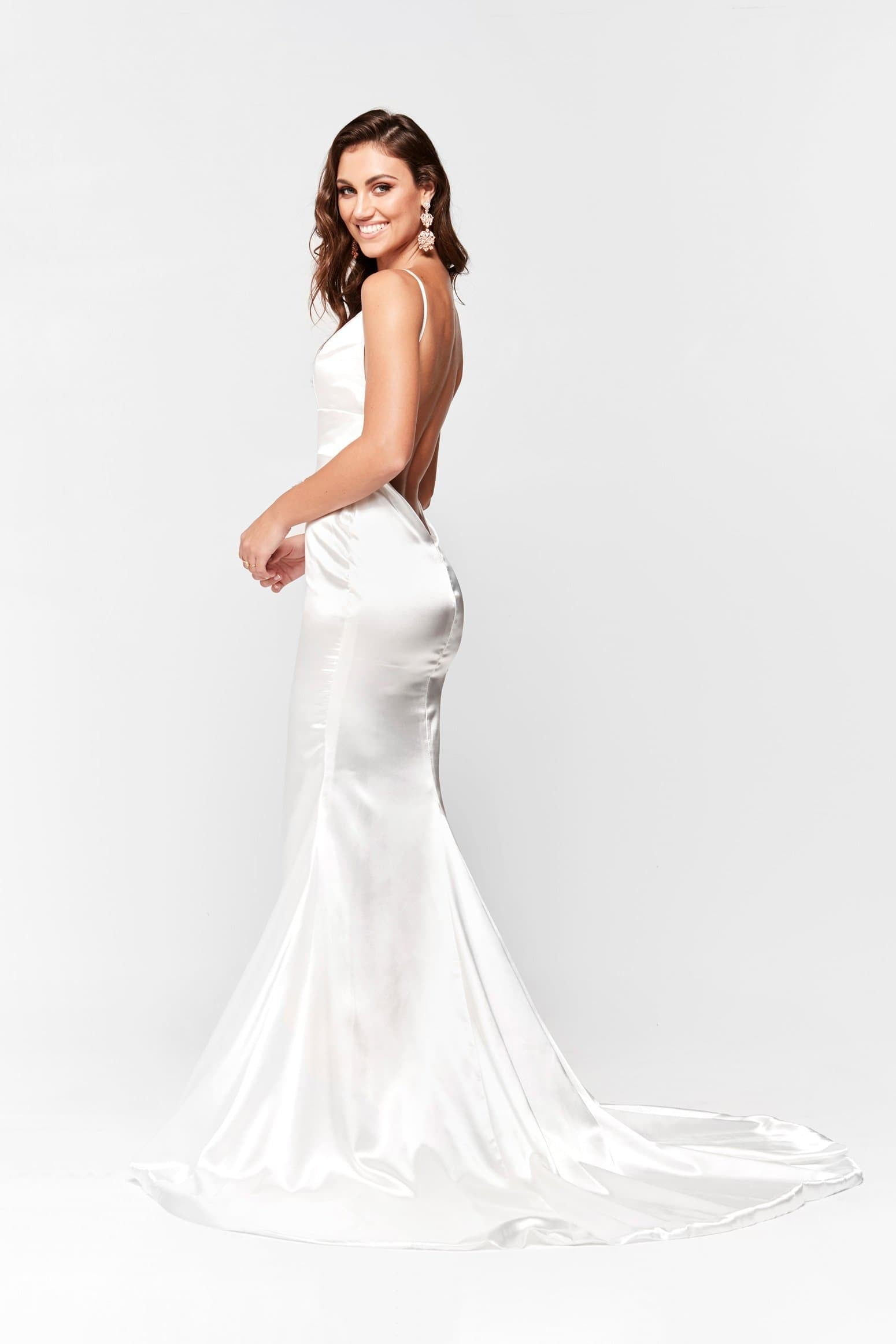 A&N Vivian  White Satin Gown with Plunge V Neck and Low Back