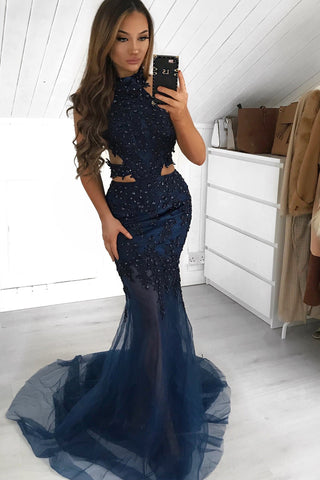 A&N Luxe Ximena - Navy Beaded Gown with Side Cut Outs and Halter Neck