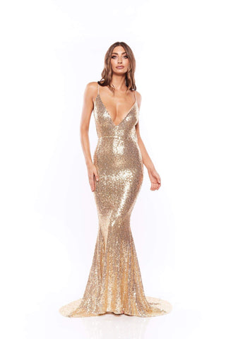 Yassmine - Gold Backless Sequin Gown with Long Mermaid Train