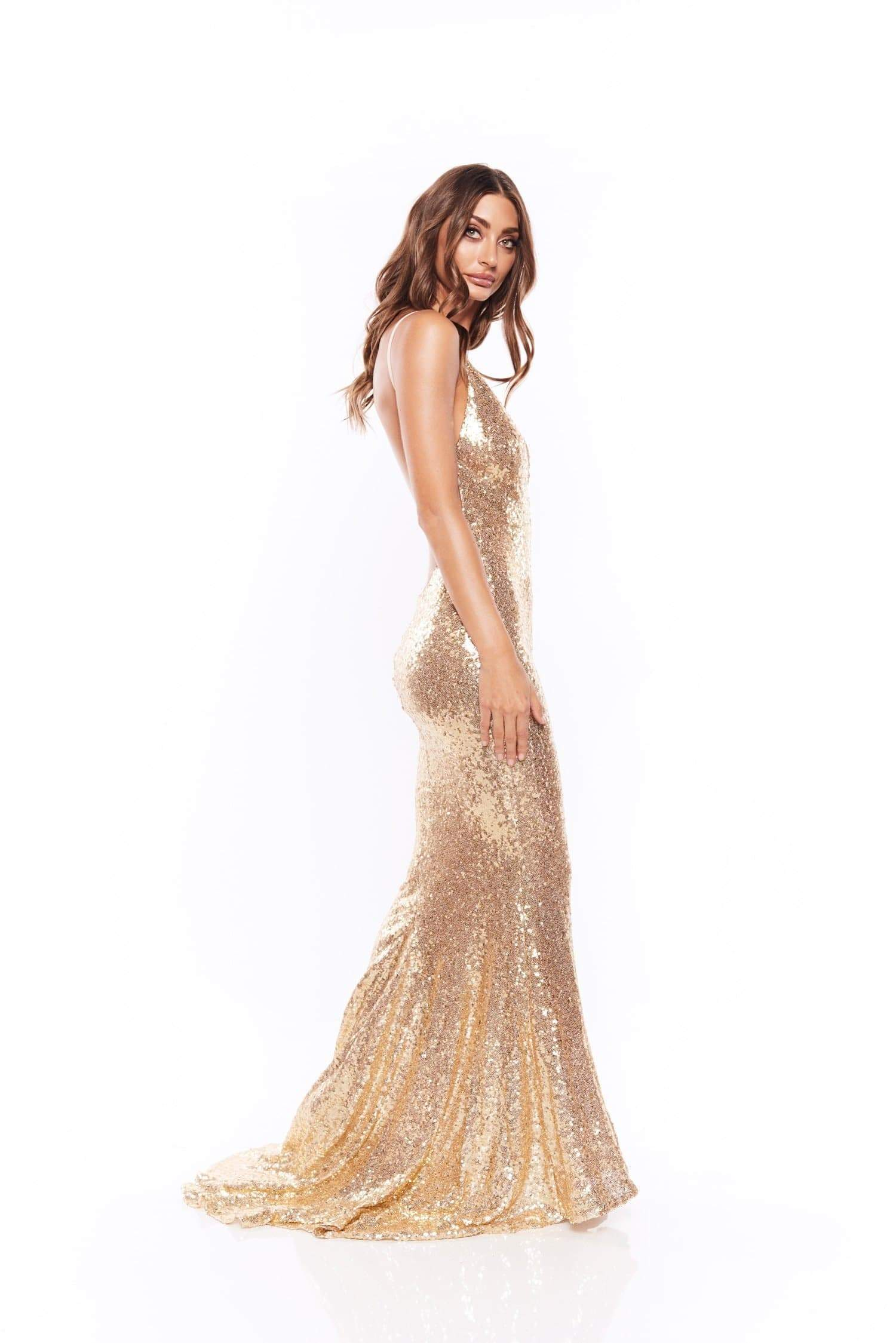 9809aedb Yassmine - Gold Backless Sequin Gown with Long Mermaid Train – A&N ...