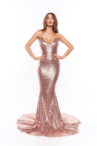 Yassmine Luxe - Rose Gold Sequin Gown with V Plunge Neckline & Train