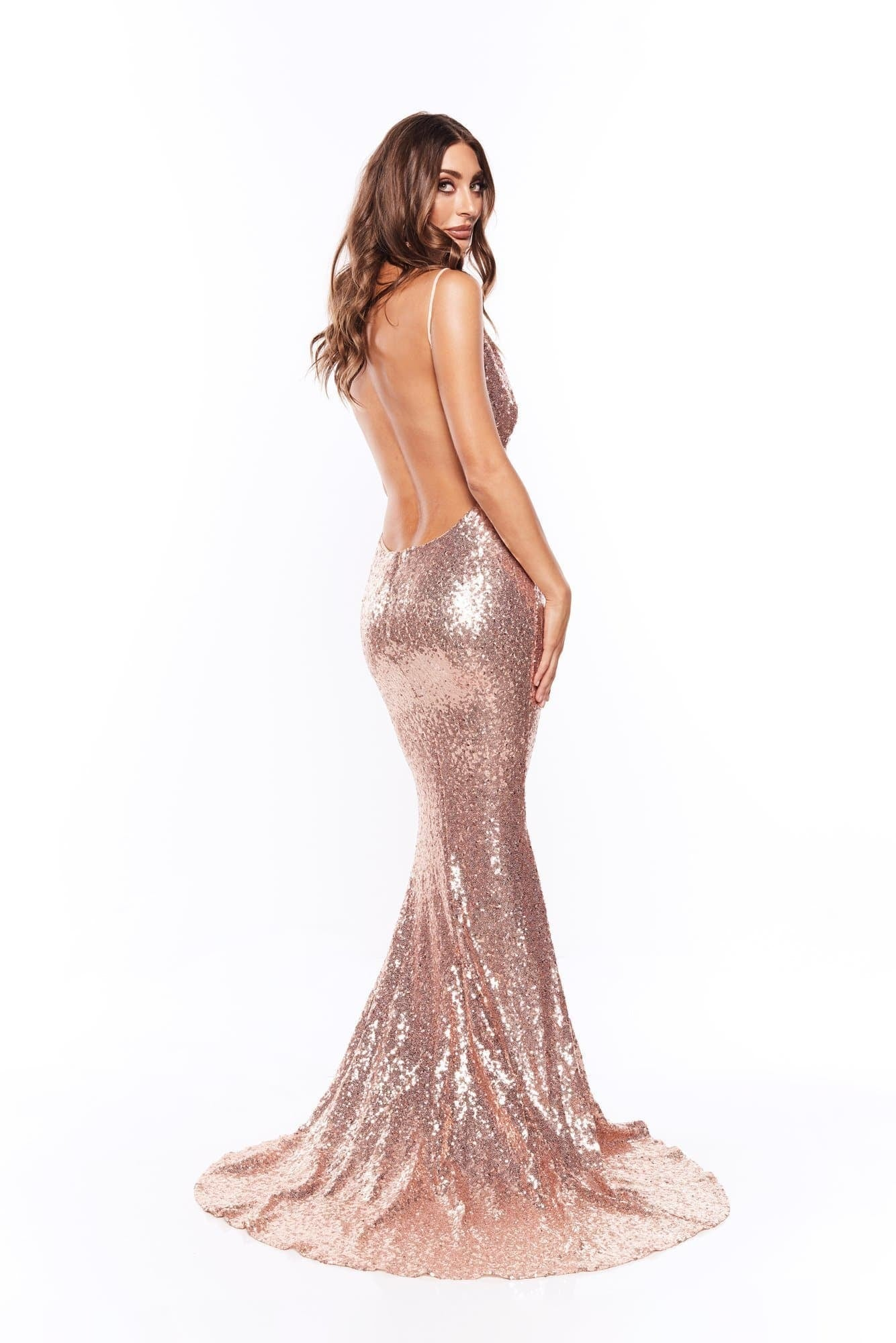 Yassmine - Rose Pink Mermaid Sequin Gown with Plunge Neckline