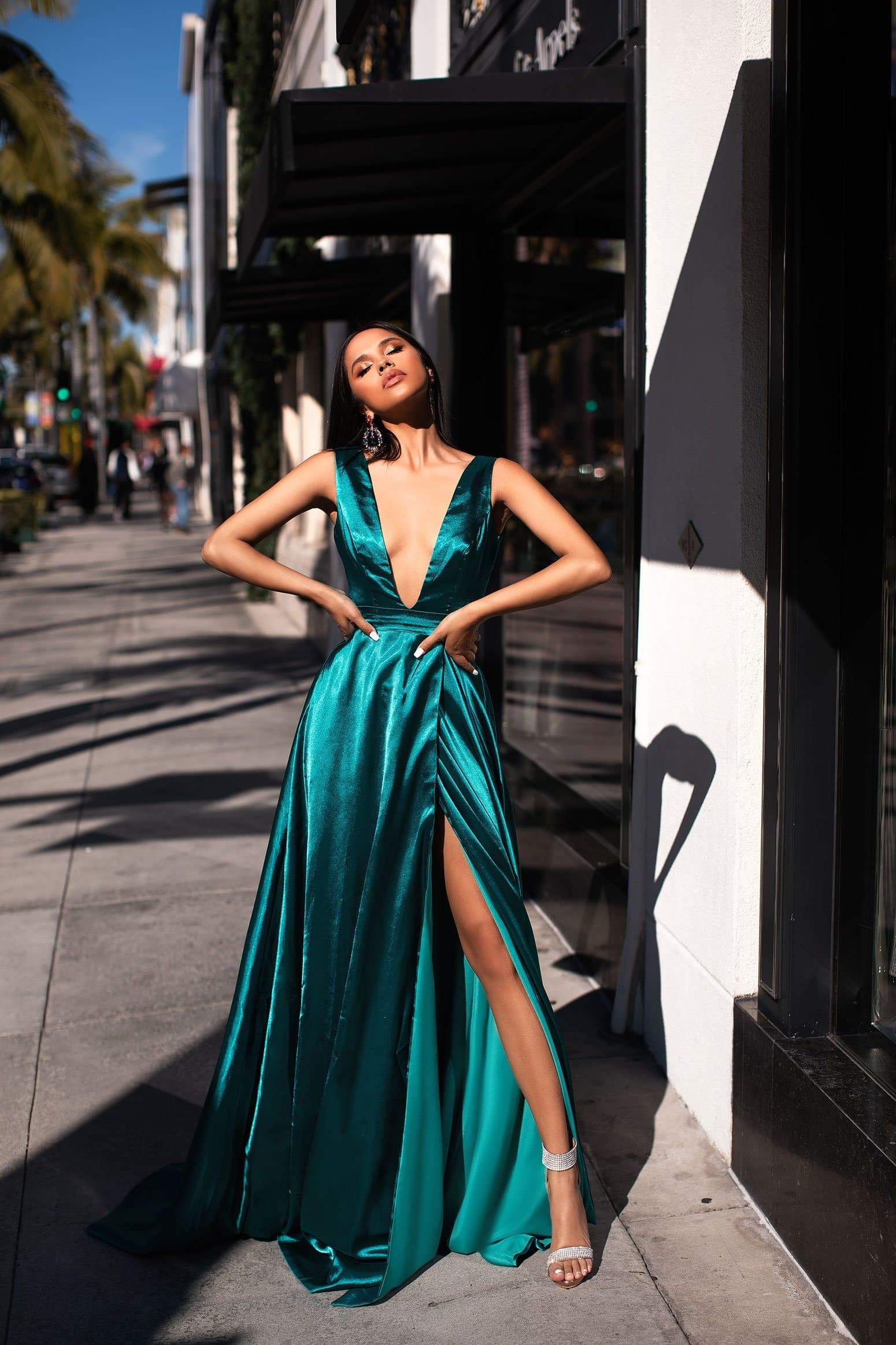 A&N Luxe Zaniya Satin Gown - Turquoise
