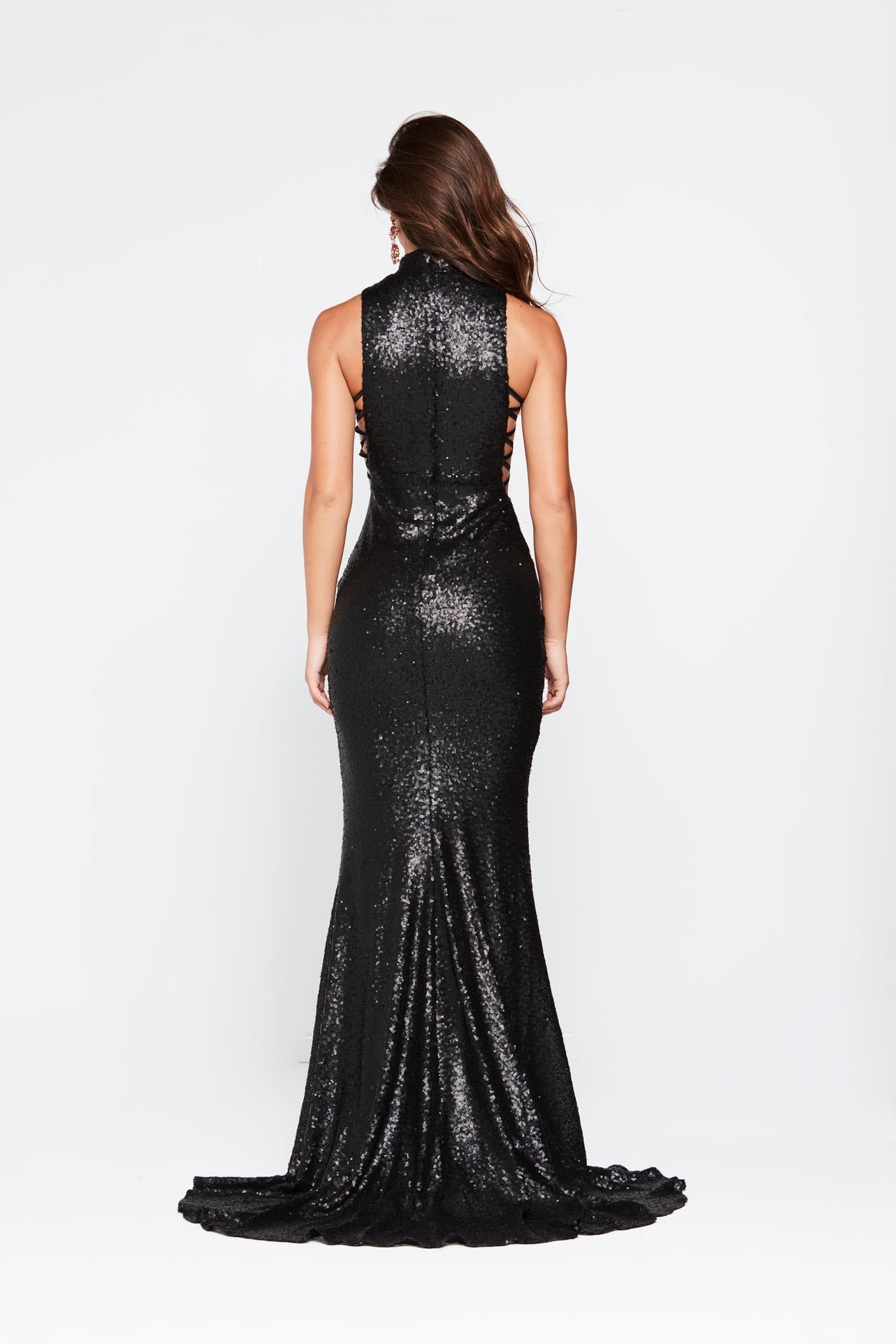 A&N Zuzu - Black Sequin Gown with High Neckline and Side Cut Outs
