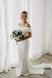 Abella - White Ponti Off-Shoulder Bridal Gown