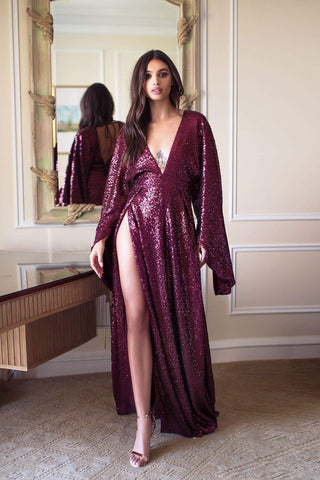 Jasmyne Sequin Gown - Burgundy