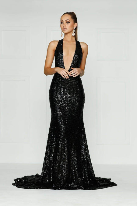 A&N Luxe Jamilla Sequin Gown - Gold & Black