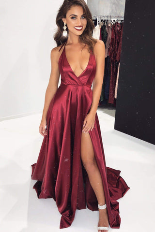 A&N Amani - Satin Dress with Side Split and Plunge Neck in Burgundy