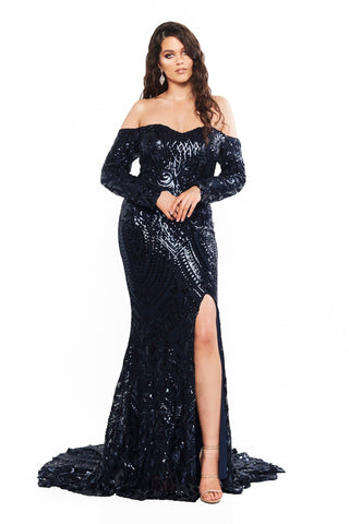 A&N Curve Amara Sequin Long Sleeve Off-Shoulder Gown - Navy