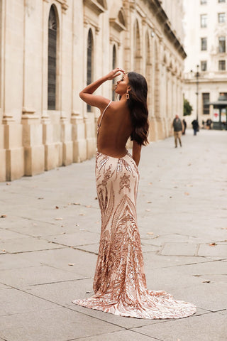 Analia Sequin Gown - Rose Gold