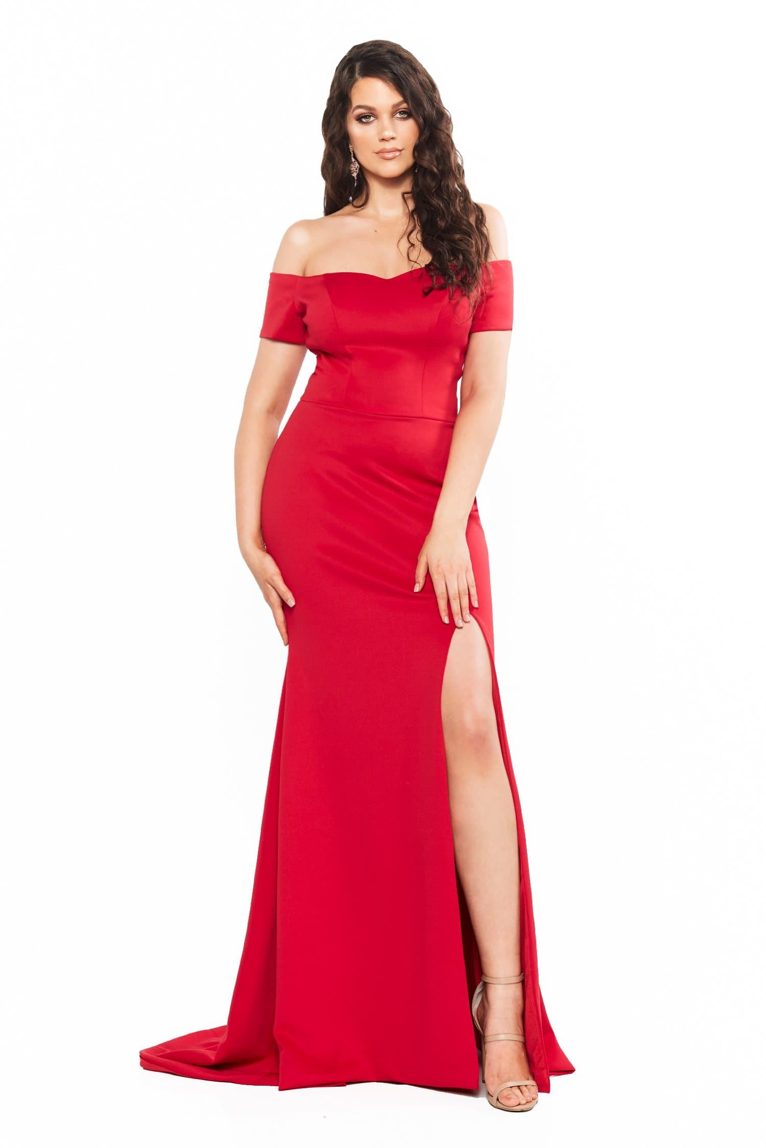 A&N Curve Belle Ponti Off-Shoulder Gown with Slit - Red