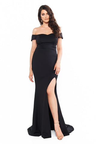 A&N Curve Belle Ponti Off-Shoulder Gown with Slit - Black