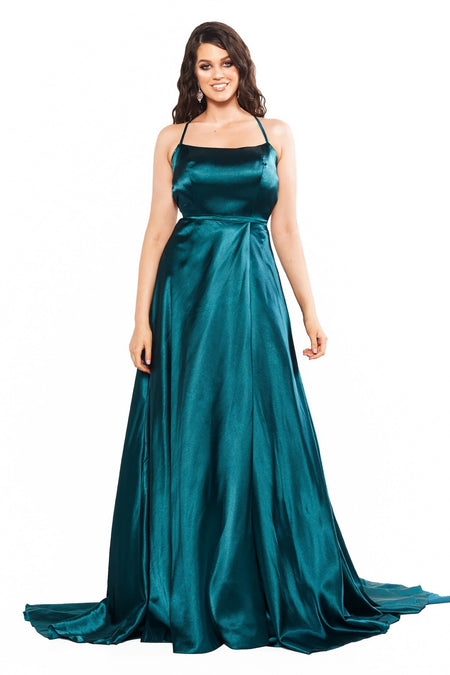 Madia Satin Gown - Ice Grey