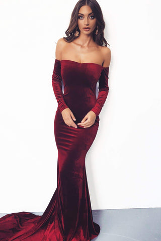 Cadencia - Plum Long Sleeve Velvet Gown with Mermaid Train