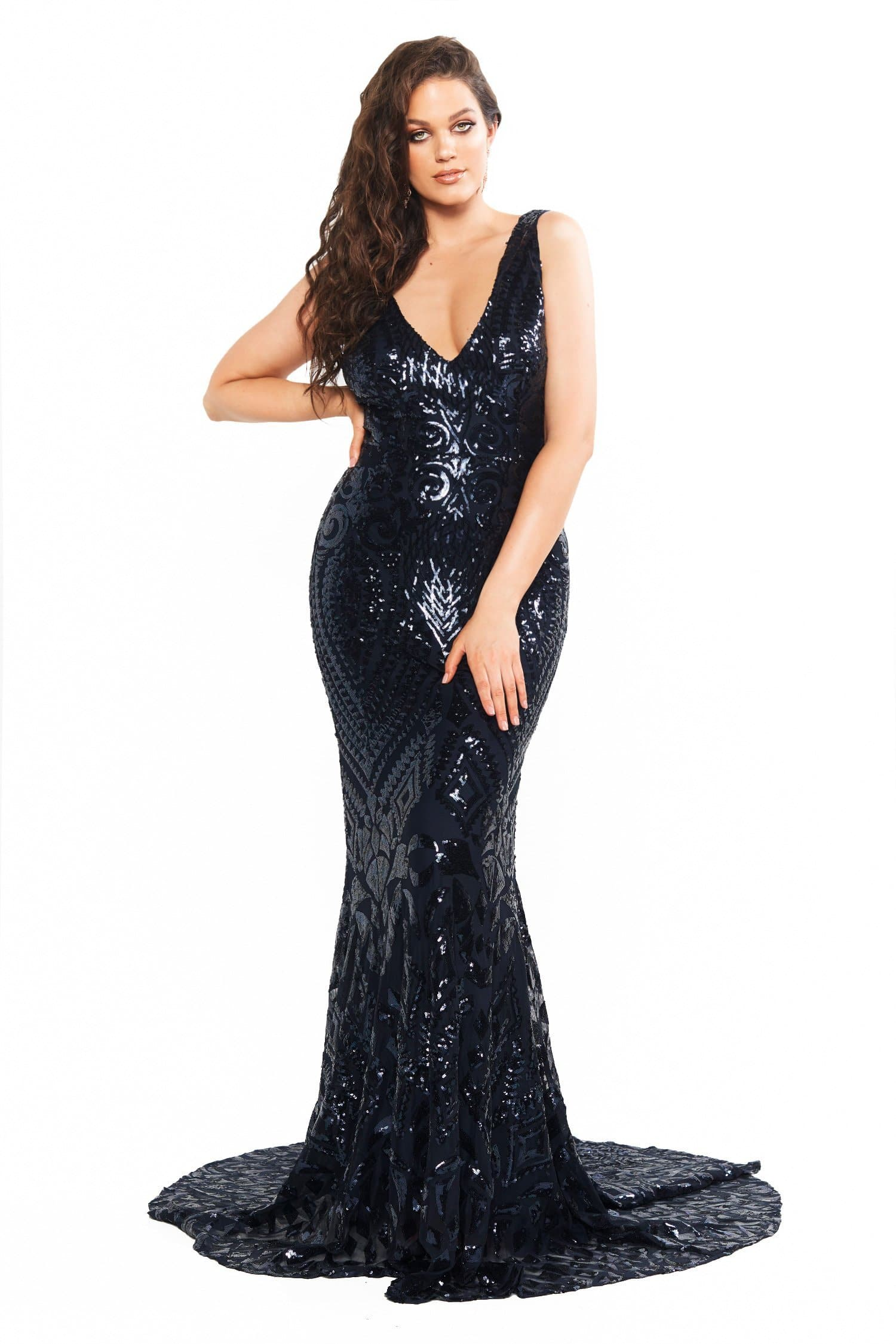 A&N Curve Crown Sequin Gown - Navy