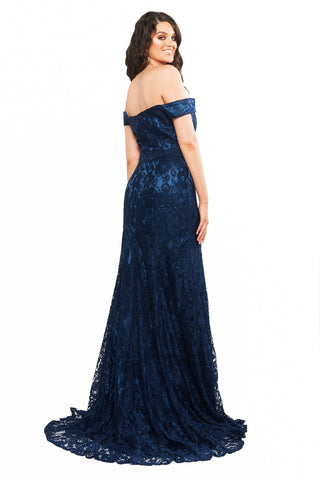 A&N Curve Leyla - Navy Off-Shoulder Lace Gown with Side Slit