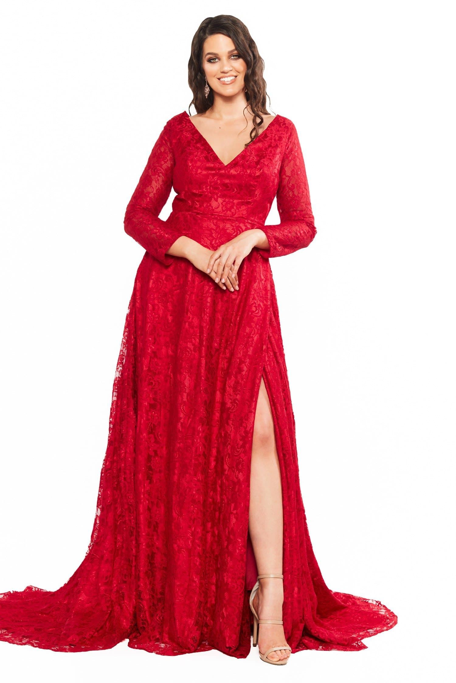 A&N Curve Gracie - Red Lace Gown with V-Neck, Long Sleeves & Side Slit