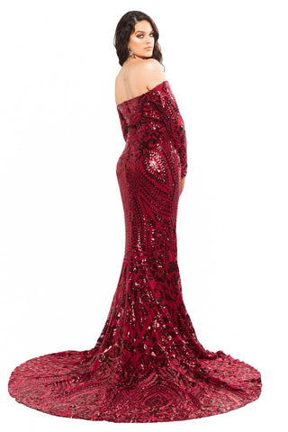 A&N Curve Isidora - Burgundy Sequin Off-Shoulder Long Sleeve Gown