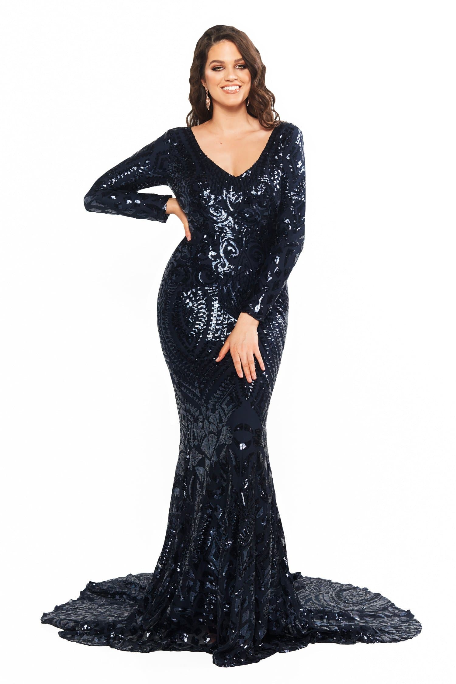 A&N Curve Julieta - Navy Sequin Gown with Long Sleeves & Mermaid Train