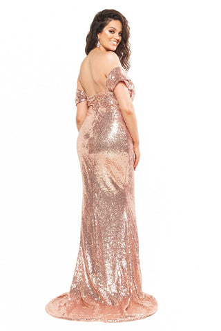 A&N Curve Kelsey - Rose Gold Sequin Off-Shoulder Gown