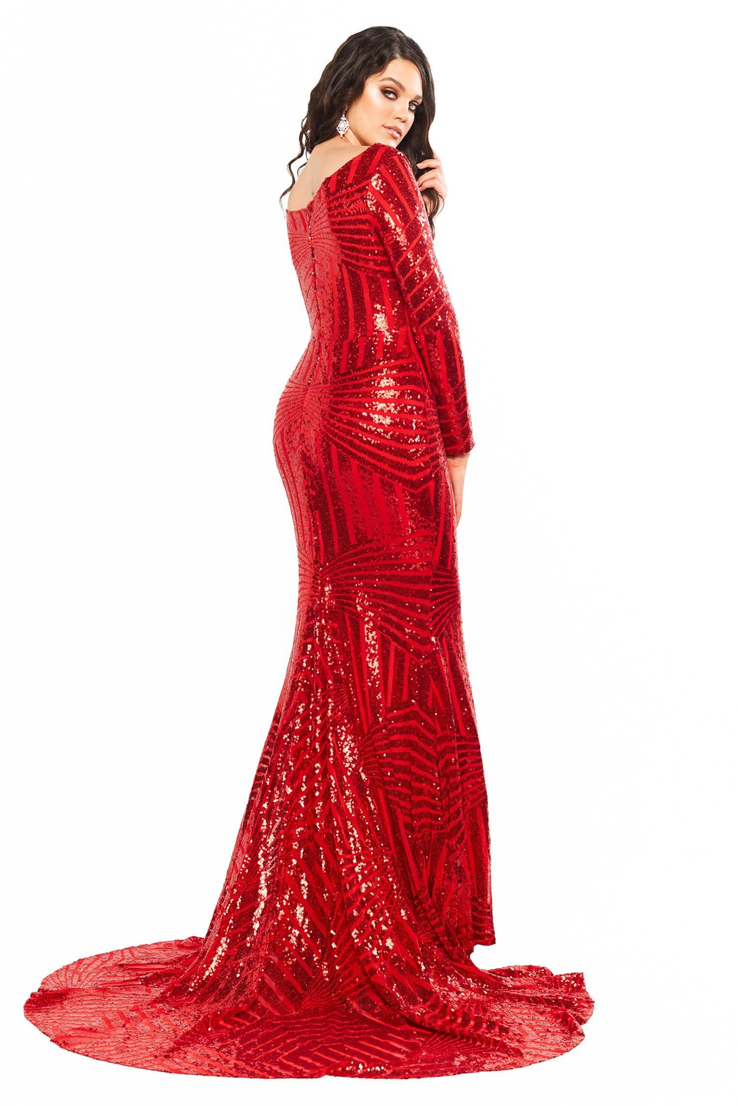 A&N Curve Kaya - Red Sequin Dress with Long Sleeves & Side Slit