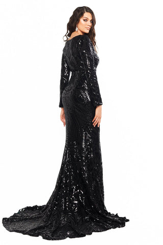 A&N Curve Alexa - Black Long Sleeve Sequins Gown with V-Neck & Slit