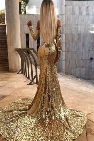 Diamanda - Gold Sequin Gown with Long Off-Shoulder Sleeves